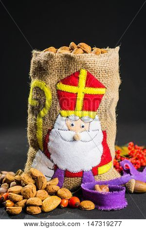 St. Nicholas' bag filled with traditional Dutch spicy cookies, Dutch holiday 'Sinterklaas' celebration.