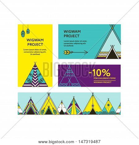 Business cards and promotional flyers with a picture of wigwams. Seamless border decorated wigwams with ornamental elements. Line style. Boho elements. Vector template