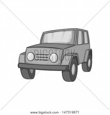 Jeep icon in black monochrome style on a white background vector illustration