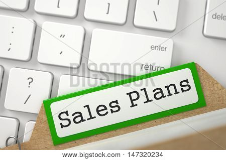 Sales Plans Concept. Word on Green Folder Register of Card Index. Closeup View. Blurred Image. 3D Rendering.