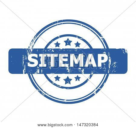 Sitemap Stamp with stars isolated on a white background.