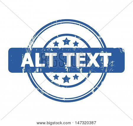 Alt Text stamp with stars isolated on a white background.