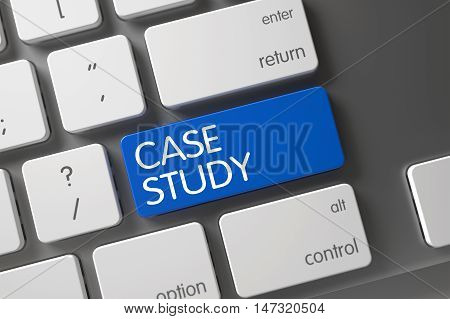 Concept of Case Study, with Case Study on Blue Enter Keypad on Modern Laptop Keyboard. 3D Illustration.