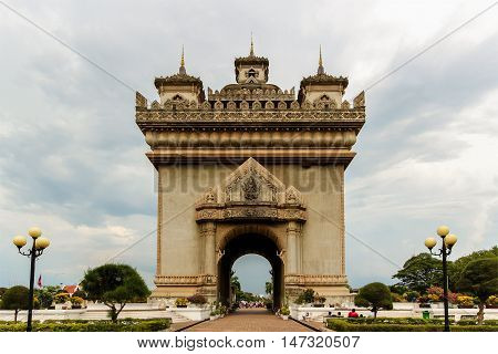 Patuxai literally meaning Victory Gate or Gate of Triumph Vientiane Laos.