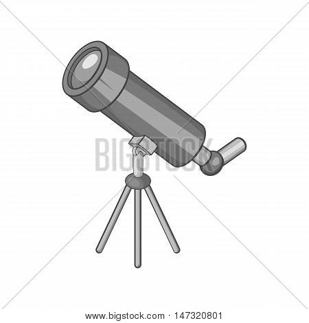 Telescope icon in black monochrome style on a white background vector illustration