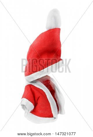 Clothes of the little Santa Claus isolated on white