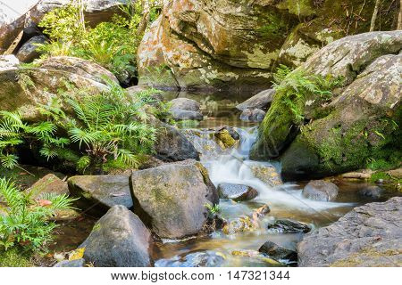 Beautiful landscape rapids on a mountains river and small waterfall.