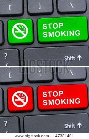 Stop Smoking Advertising On Keyboard Button