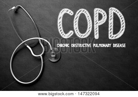 Medical Concept: COPD - Chronic Obstructive Pulmonary Disease on Black Chalkboard. Medical Concept: COPD - Chronic Obstructive Pulmonary Disease - Medical Concept on Black Chalkboard. 3D Rendering.