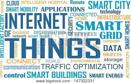 Internet of Things (IOT) word cloud concept. Cloud of relevant words illustrating Internet of Things concept