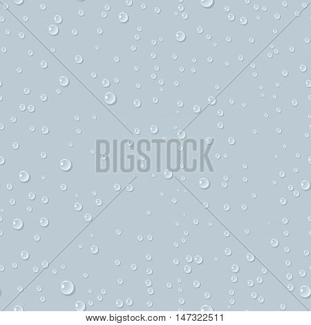 Water transparent drops seamless pattern. Rain drops. Condensed water on green background. Water drops scattered across the surface. Vector illustration