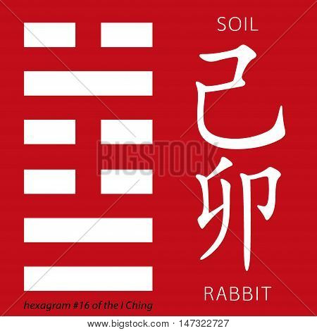 Symbol of i ching hexagram from chinese hieroglyphs. Translation of 12 zodiac feng shui signs hieroglyphs- soil and rabbit.