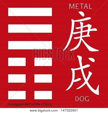 Symbol of i ching hexagram from chinese hieroglyphs. Translation of 12 zodiac feng shui signs hieroglyphs- metal and dog.