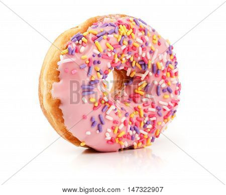 Pink Doughnut Isolated On White