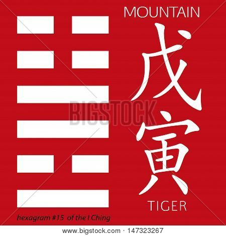 Symbol of i ching hexagram from chinese hieroglyphs. Translation of 12 zodiac feng shui signs hieroglyphs- mountain and tiger.
