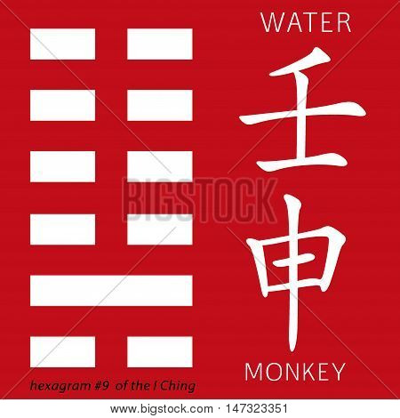 Symbol of i ching hexagram from chinese hieroglyphs. Translation of 12 zodiac feng shui signs hieroglyphs- water and monkey.
