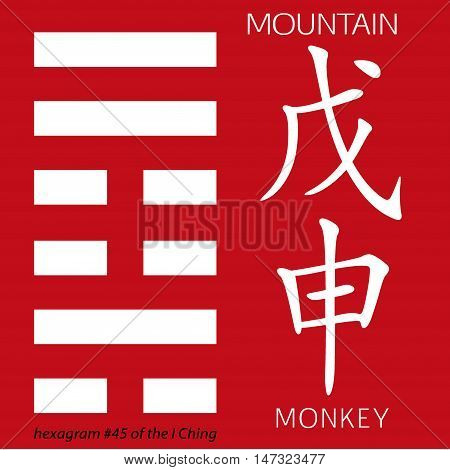 Symbol of i ching hexagram from chinese hieroglyphs. Translation of 12 zodiac feng shui signs hieroglyphs- mountain and mnkey.