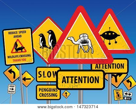 Road signs chaos on blue background, vector illustration