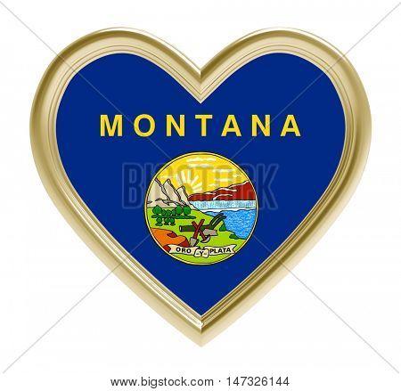 Montana flag in golden heart isolated on white background. 3D illustration.