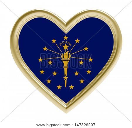 Indiana flag in golden heart isolated on white background. 3D illustration.