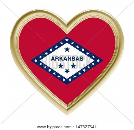 Arkansas flag in golden heart isolated on white background. 3D illustration.
