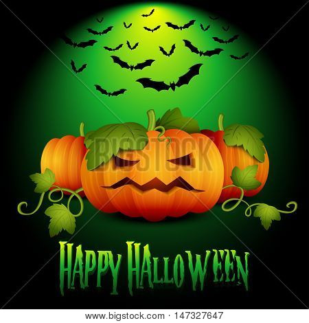 Halloween Banner, Party Invitation, Holiday Card, with Pumpkin and Flock Bats. For your Design. Vector EPS10.