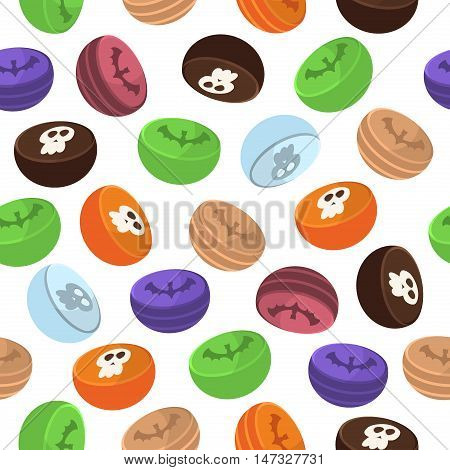 Halloween seamless pattern sweets decoration ghost. Scary horror design halloween seamless pattern spooky silhouette. Holiday october scary halloween seamless pattern fear texture.