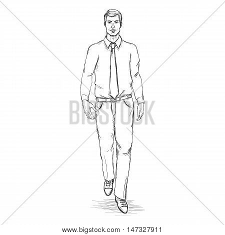 Vector Sketch Men Model In Shirt With Tie.business Dress Code.