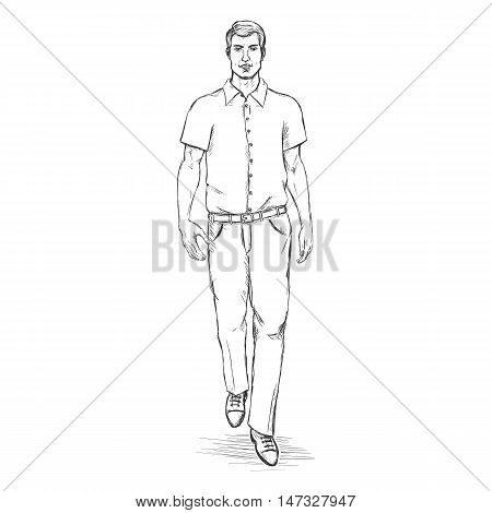Vector Sketch Men Model In Short Sleeve Shirt. Business Dress Code.