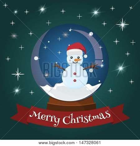 Snow globe crystal ball with mountain ski area. Fabulous glitter snowball with ski resort landscape. Happy holidays greeting card vector magic snowball. Merry christmas magic glass snow ball.