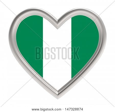 Nigeria flag in silver heart isolated on white background. 3D illustration.