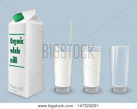 Milk carton and glass of whole milk.
