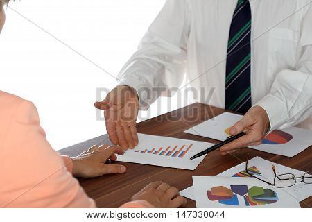 meeting with two business people in an office