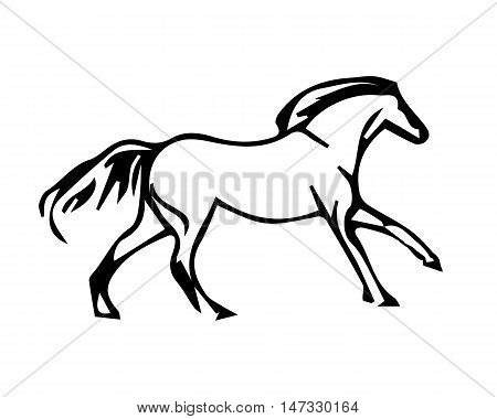 A horse galloping abstract image of a stallion on a white background vector illustration