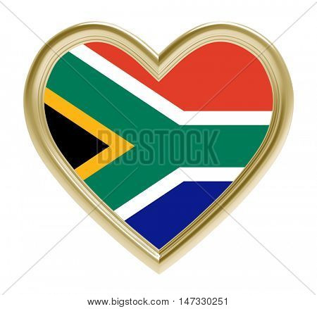 South Africa flag in golden heart isolated on white background. 3D illustration.