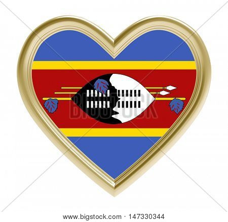 Swaziland flag in golden heart isolated on white background. 3D illustration.