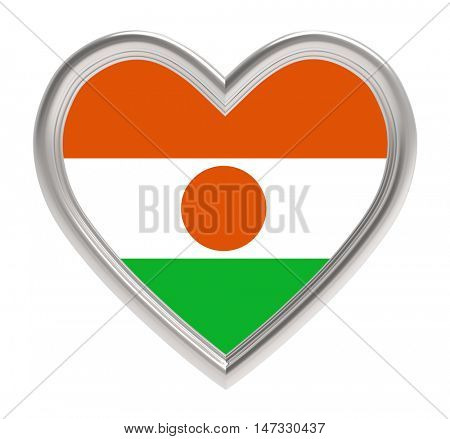Niger flag in silver heart isolated on white background. 3D illustration.