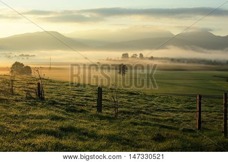 fields and landscape in the morning light