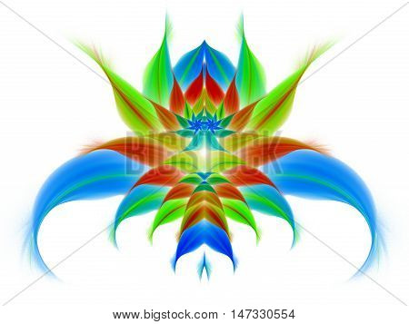 Abstract exotic flower on white background. Symmetrical pattern in bright green blue and red colors. Fantasy fractal design for posters wallpapers or t-shirts. Digital art. 3D rendering.