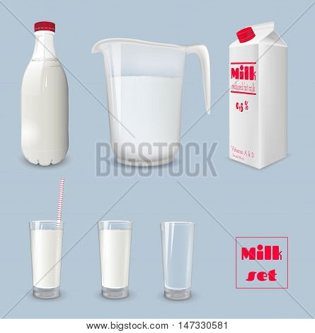 Milk carton and glass of milk. Bottle of milk and jug. Vector illustration