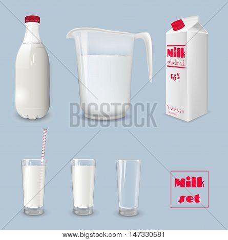 Milk carton and glass of milk. Bottle of milk and jug. Vector illustration