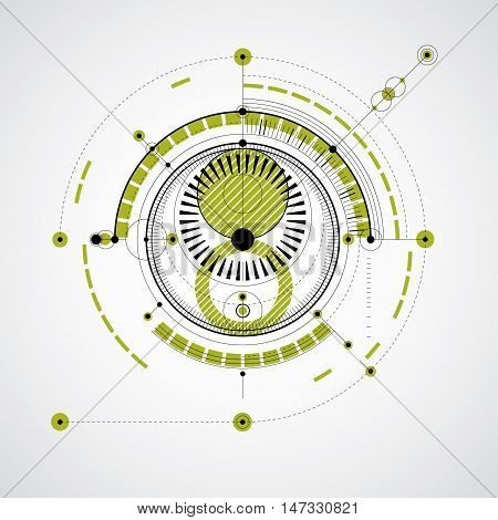 Technical blueprint green vector digital background with geometric design elements circles. Illustration of engineering system abstract technological backdrop.