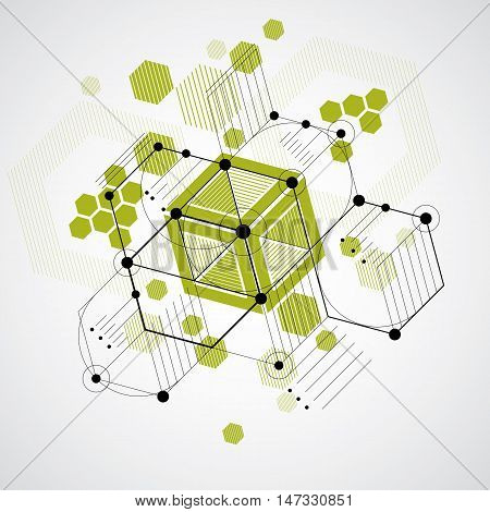 Bauhaus art decorative modular vector backdrop made using striped hexagons and circles. Retro style pattern graphic backdrop for use as booklet cover template. Illustration of engineering system.