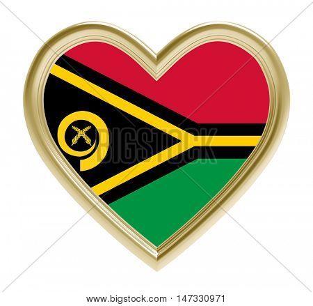 Vanuatu flag in golden heart isolated on white background. 3D illustration.