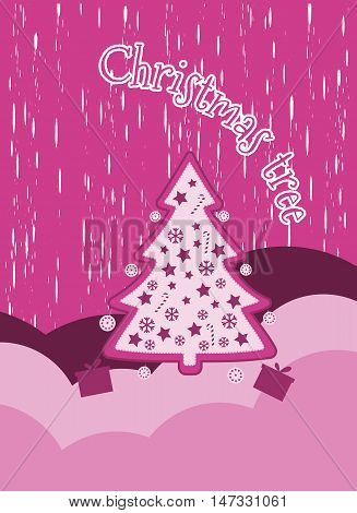 Christmas background with snowflakes Christmas tree and presents. Decorated Christmas tree. New Year's celebration collage. Elements grunge style. Vector illustration.