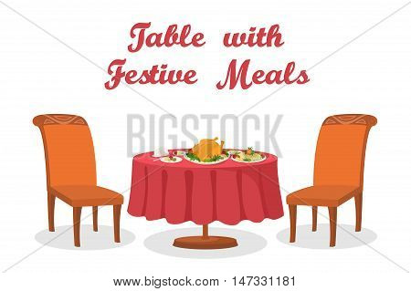 Cartoon Festive Meals on Table, Thanksgiving Holiday Roasted Turkey, Different Foods, Napkins, Plates, Two Chairs, Isolated on White Background. Eps10, Contains Transparencies. Vector