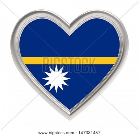 Nauru flag in silver heart isolated on white background. 3D illustration.