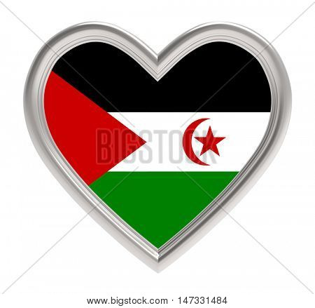 Western Sahara flag in silver heart isolated on white background. 3D illustration.