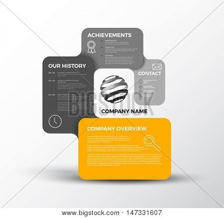 Vector Company infographic overview design template with rounded labels - light version with yellow color