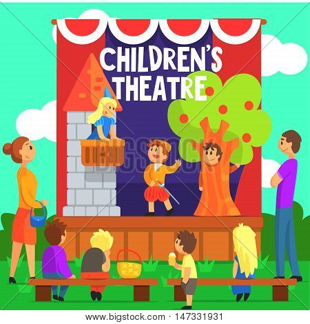 Amateur Children Theatre Performance Of A Fairy Tale. Theatrical Stage Outdoors With Kids Actors Colorful Vector Illustration In Simple Cartoon Manner.